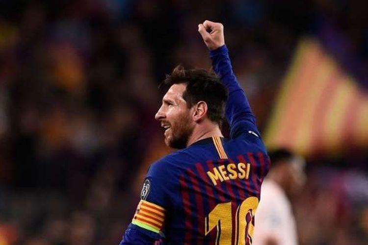 Messi saat merayakan gol di Liga Champions, Kamis (18/4/2019)