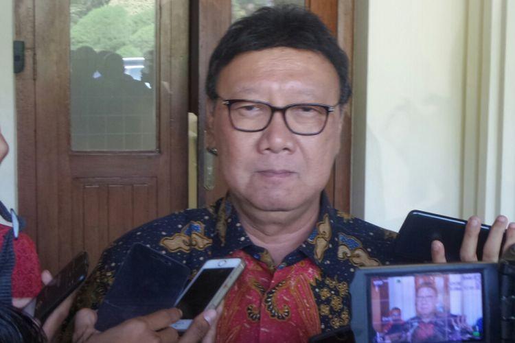 Menteri Dalam Negeri Tjahjo Kumolo saat ditemui di Kemenko Polhukam, Jakarta Pusat, Kamis (14/9/2017).