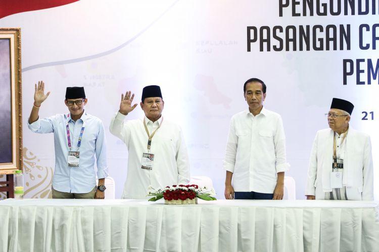 Dua pasangan capres dan cawapres, Joko Widodo-Maruf Amin dan Prabowo Subianto-Sandiaga Uno.