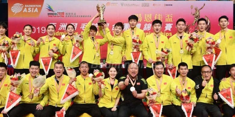 China mengalahkan juara bertahan Jepang 3-2 di babak final Badminton Asia Mixed Team Chapionships 2019 di stadion Queen Elizabeth, Minggu (24/3/2019).