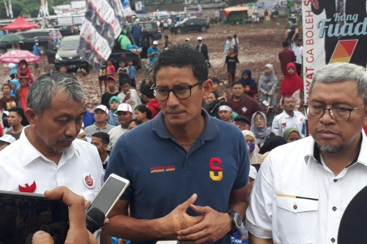 Cawapres nomor urut 2 Sandiaga Uno usai kampanye di Lapangan Kobra, Tambun, Kabupaten Bekasi, Selasa (2/4/2019).