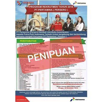 Informasi mengenai rekrutmen bohong yang mengatasnamakan PT Pertamina