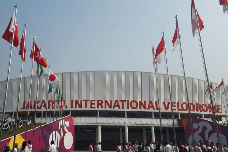 Jakarta International Velodrome yang diklaim sebagai arena balap sepeda terbaik di Asia. Foto diambil setelah peresmian Velodrome, Rabu (15/8/2018).