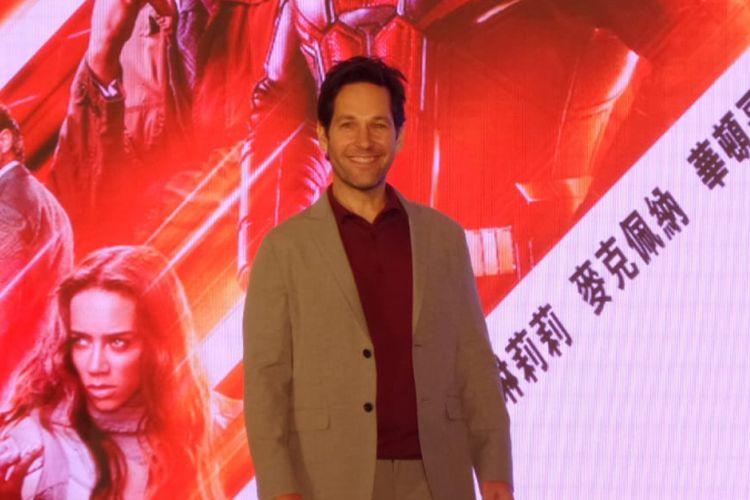 Paul Rudd berpose dalam jumpa pers film Ant-Man and The Wasp di Mandarin Oriental, Taipei, Taiwan, Selasa (13/6/2018). Ia berperan sebagai Scott Lang alias superhero Ant-Man dalam film tersebut.