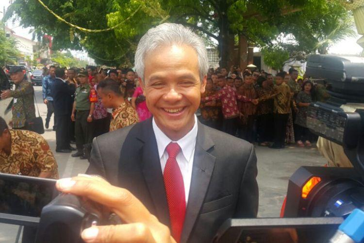 Gubernur Jawa Tengah Ganjar Pranowo menghadiri pernikahan Kahiyang Ayu dengan Muhammad Bobby Afif Nasution di Gedung Graha Saba Buana, Solo, Jawa Tengah, Rabu (8/11/2017).