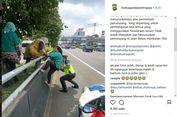 Viral Ibu-ibu Panjat Pembatas Jalan Tol, Ini Peringatan Polisi