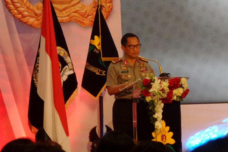 Kapolri Jenderal Pol Tito Karnavian dalam sambutan di acara HUT ke-69 Polwan di Auditorium PTIK, Jakarta, Senin (11/9 2017).