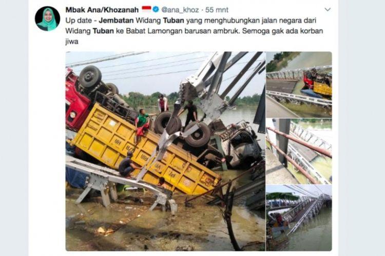 Jembatan Widang Tuban yang menghubungkan jalan nasional dari Widang Tuban ke Babat Lamongan ambruk pada Selasa (17/4/2018). Jembatan ini melintasi Bengawan Solo. Akun Twitter Khozanah Hidayati, Anggota DPRD Jatim 2014 - 2019, Dapil IX - Tuban & Bojonegoro, turut melaporkan kejadian tersebut.