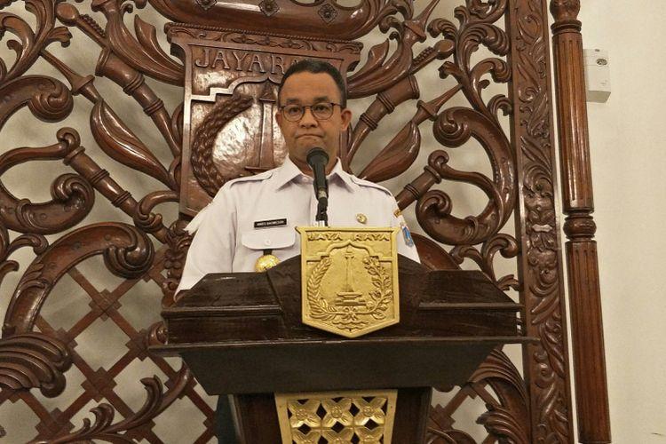 Gubernur DKI Jakarta Anies Baswedan di Balai Kota DKI Jakarta, Jalan Medan Merdeka Selatan, Rabu (27/12/2017).