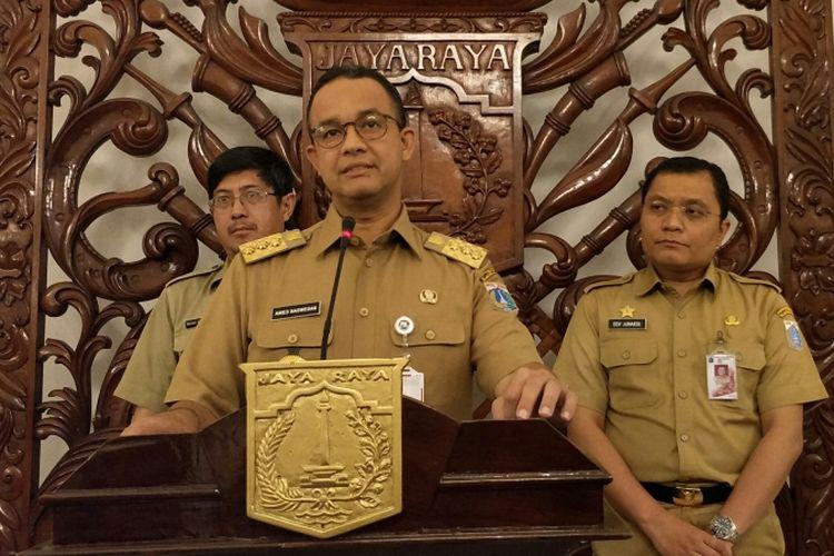 Gubernur DKI Jakarta Anies Baswedan di Balai Kota DKI Jakarta, Jalan Medan Merdeka Selatan, Senin (15/1/2018).