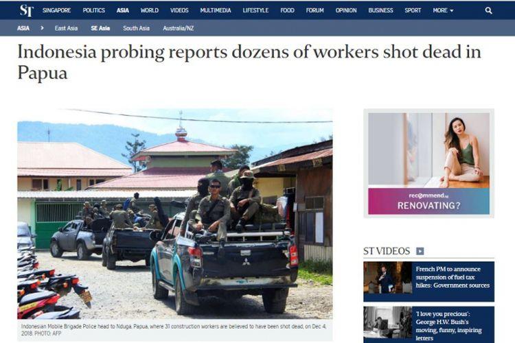 Pemberitaan Straight Times tentang pembantaian di Papua