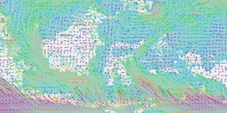 Ilustrasi pergerakan angin yang membuat suhu di Indonesia jadi sangat dingin