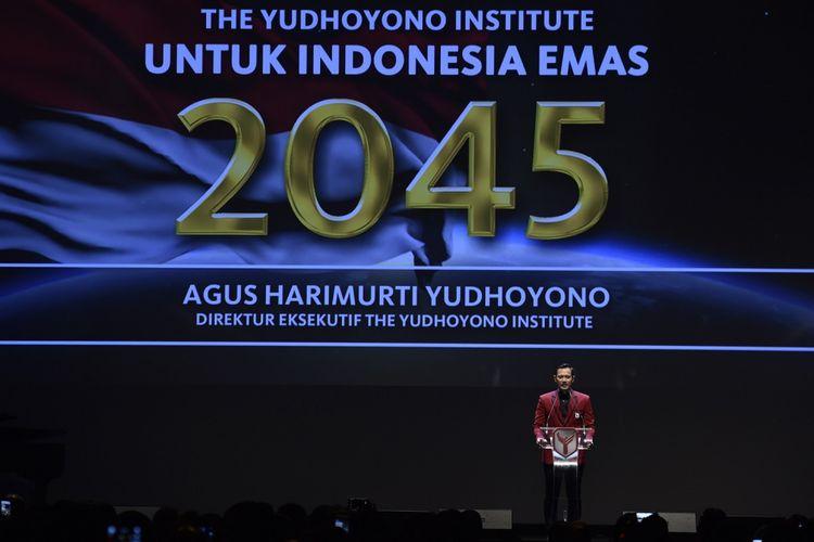 Direktur Eksekutif The Yudhoyono Institute Agus Harimurti Yudhoyono berpidato saat peluncuran The Yudhoyono Institute di Jakarta, Kamis (10/8/2017). The Yudhoyono Institute diluncurkan untuk melahirkan generasi masa depan dan calon pemimpin bangsa yang berjiwa patriotik, berakhlak baik dan unggul. ANTARA FOTO/Puspa Perwitasari/ama/17