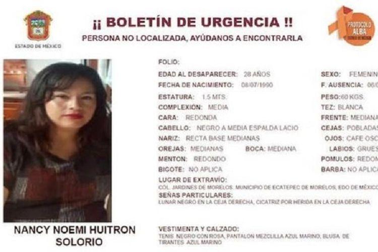 Nancy Huitron hilang bersama bayinya usai mengantarkan kedua putrinya ke sekolah.(EDOMEX Prosecutors Office )