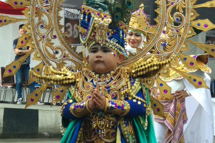 Inilah Salah Satu Peserta JFC Kids Carnival Yang Diselenggarakan Di Kabupaten Jember, Jawa Timur, Kamis (9/8/2018) sore.