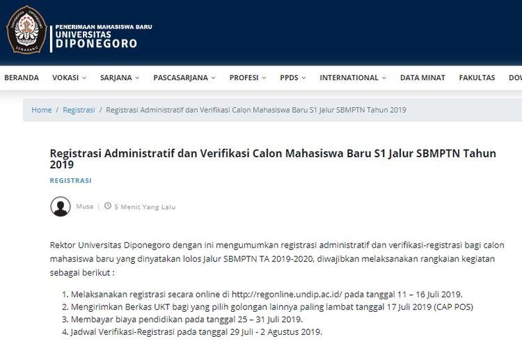 Halaman depan pengumuman registrasi online Universitas Diponegoro (Undip).