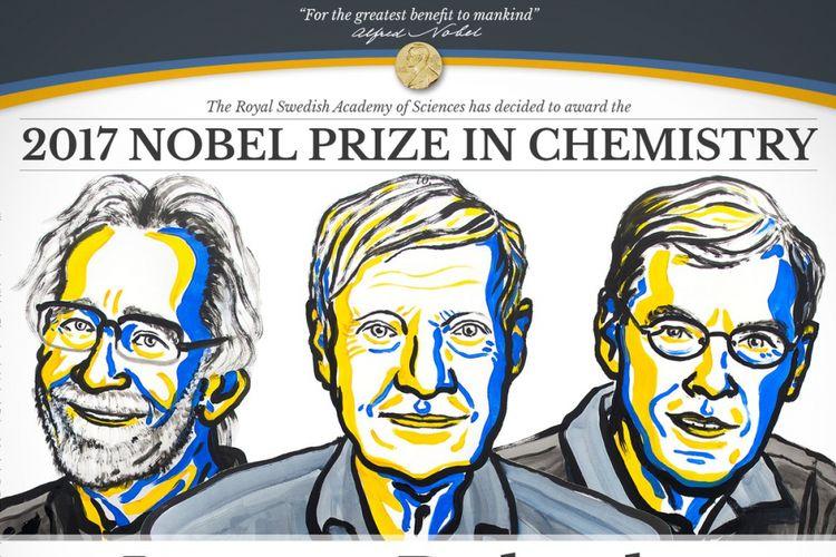Jacques Dubochet, Joachim Frank, dan Richard Henderson memenangkan penghargaan Nobel Kimia 2017.