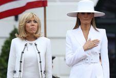 Cantiknya Melania Trump Menyambut Kedatangan Presiden Perancis