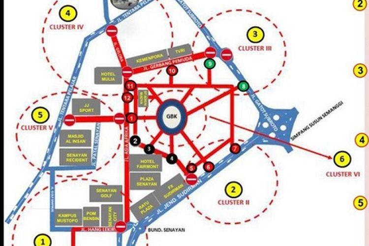 Peta rekayasa arus lalu lintasdi di sekitar kawasan Gelora Bung Karno (GBK), Jakarta, Sabtu (13/10/2018) saat acara penutupan Asian Para Games 2018.