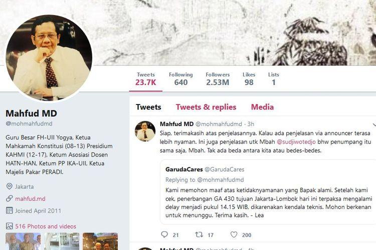Mantan Ketua Mahkamah Konstitusi, Mahfud MD mengeluhkan keterlambatan penerbangan Garuda Indonesia Jakarta-Lombok melalui akun Twitter, Senin (11/2/2018).