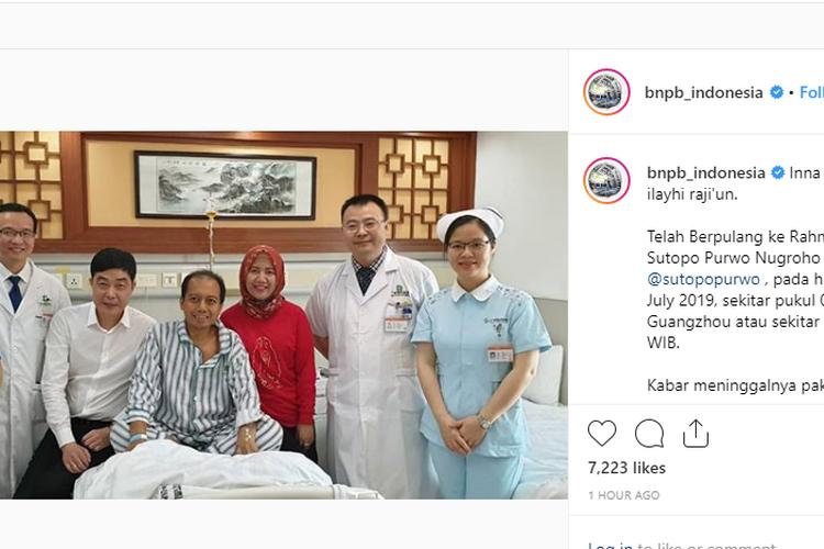 Kepala Humas dan Pusat Data BNPB Sutop Purwo Nugroho saat menjalani perawatan penyakit kanker paru di China.