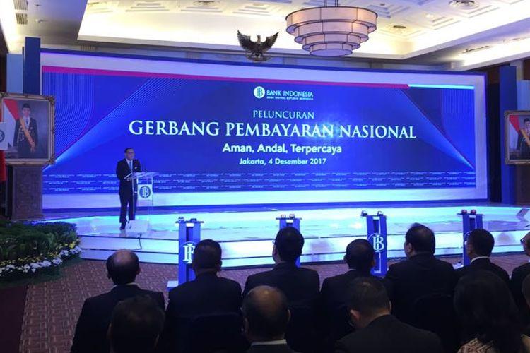 Gubernur BI Agus D. W. Martowardojo dalam peresmian Gerbang Pembayaran Nasional di Jakarta, Senin (4/12/2017)