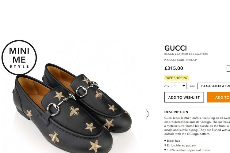 Gucci Black Leather Bee Loafers