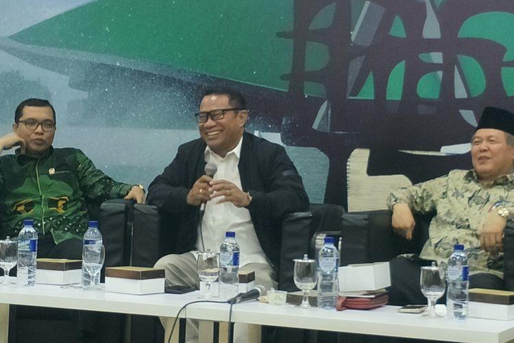 Ketua Fraksi Gerindra di MPR RI Fary Djemy Francis dalam sebuah diskusi di Kompleks Parlemen, Senayan, Jakarta, Senin (22/7/2019).