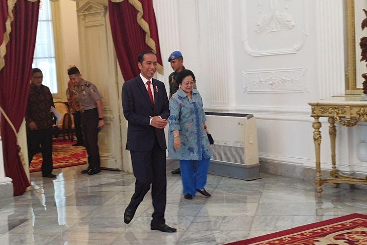 Presiden Joko Widodo menerima Ketua Umum PDI-P Megawati Soekarnoputri di Istana Merdeka, Jakarta, Selasa (21/5/2019).
