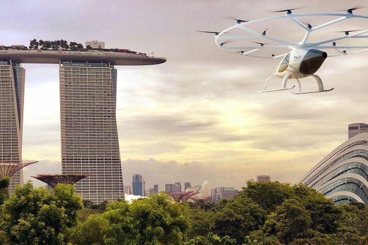 Ilustrasi taksi terbang di Singapura