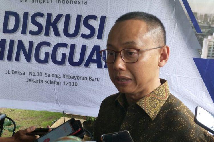Sekjen PAN Eddy Soeparno saat menghadiri diskusi Daksa Forum, di Jakarta, Jumat (26/1/2018).