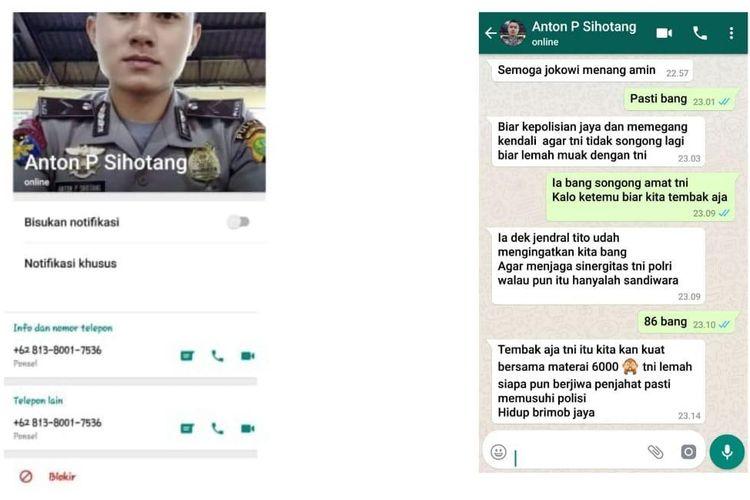 Pesan yang beredar di sosial media dalam bentuk tangkapan layar percakapan aplikasi WhatsAp yang berisi konten adu domba TNI-Polri.
