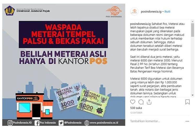 Hati-hati Meterai Tempel dan Bekas Pakai, Ini Saran PT Pos Indonesia