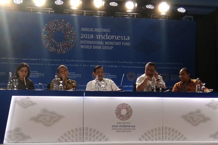 Media briefing Pertemuan Tahunan IMF-Bank Dunia 2018 di Hotel Westin Nusa Dua, Bali, Senin (8/10/2018).