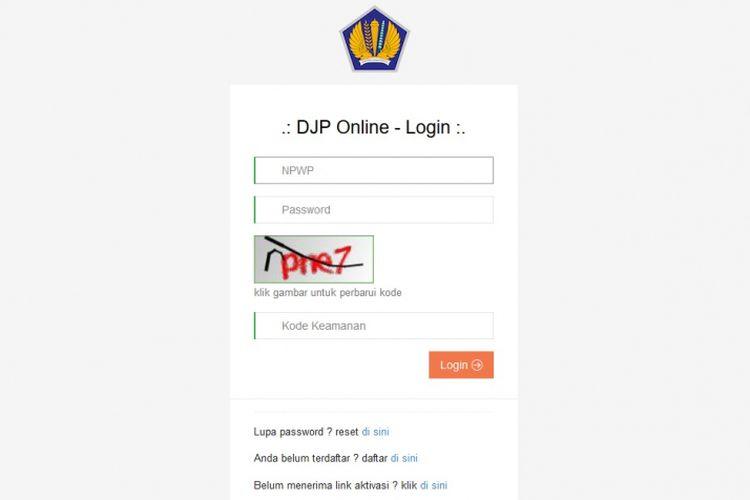 Tampilan halaman untuk melaporkan pajak secara online melalui fasilitas e-Filing dari Ditjen Pajak Kementerian Keuangan.