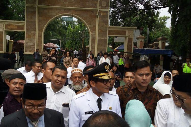 Wakil gubernur terpilih DKI Jakarta Sandiaga Uno di Masjid Sunda Kelapa, Senin (16/10/2017).