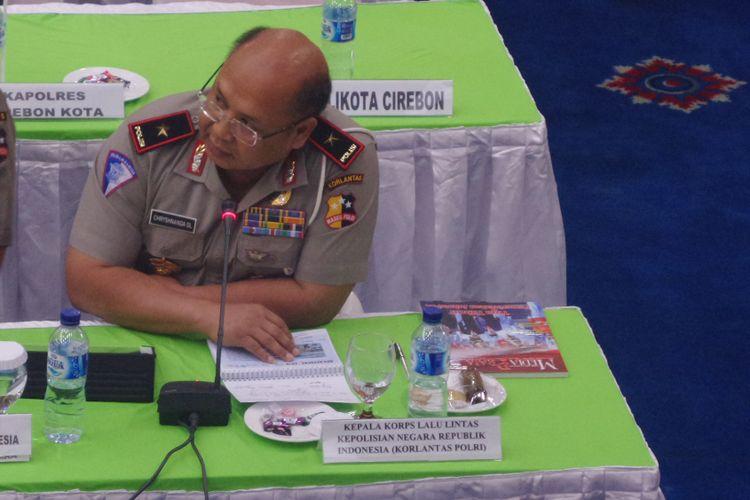Direktur Keamanan dan Keselamatan (Dirkamsel) Korlantas Polri Brigjen Chryshnanda Dwilaksana dalam paparan di Kementerian Perhubungan, Jakarta, Selasa (30/1/2018).