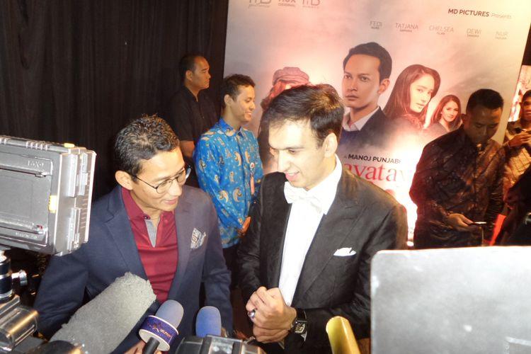 Wakil Gubernur DKI Jakarta Sandiaga Uno menghadiri gala premiere film Ayat-ayat Cinta 2 di XXI Epicentrum, Kuningan, Jakarta Selatan, Kamis (7/12/2017).
