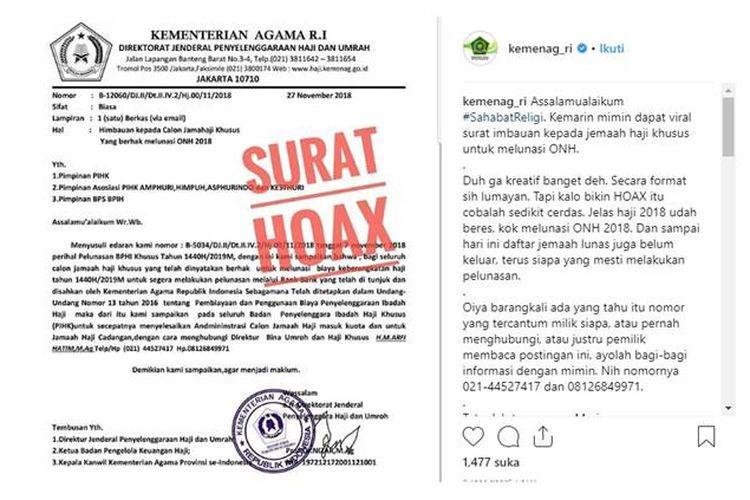 Beredar surat edaran yang meminta calon jemaah haji khusus untuk melunasi ongkos naik haji (ONH) kepada Badan Penyelenggara Ibadah Haji.
