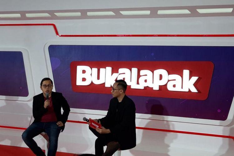 CEO sekaligus founder Bukalapak ketika memberikan paparan kepada awak media di konferensi pers peringatan Ulang Tahun ke-9 Bukalapak di kawasan Jakarta Convention Centre (JCC), Jakarta, Kamis (10/1/2019).