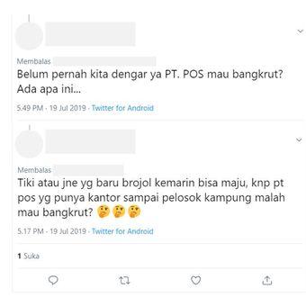 Tangkapan layar terkait kabar bangkrut PT Pos Indonesia