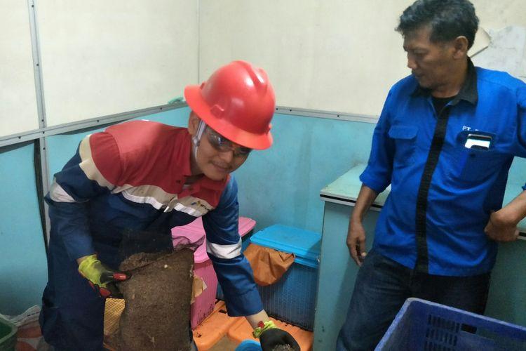 Pengelolaan sampah oleh  PT Pertamina Drilling Services Indonesia (PDSI) di Lapangan Jatiasri, Subang, Jawa Barat.