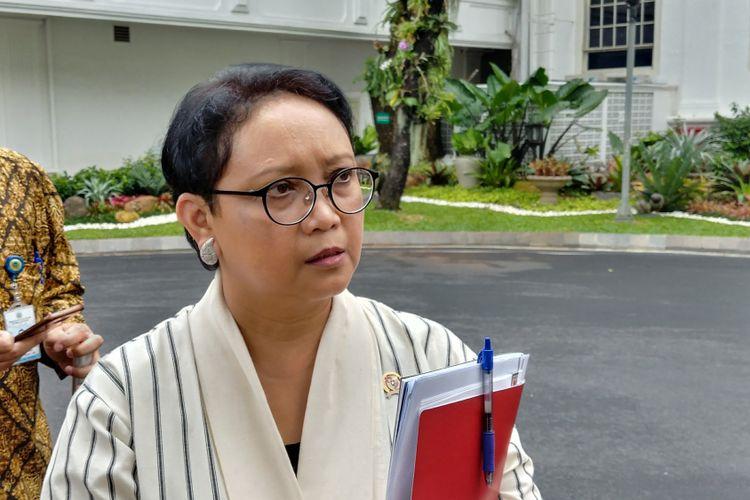Menteri Luar Negeri Retno Marsudi di Istana, Selasa (13/2/2018).