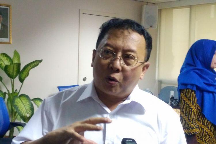 Kepala Biro Hukum Kemenaker, Budiman di Menara Kadin, Jakarta, Rabu (2/5/2018).