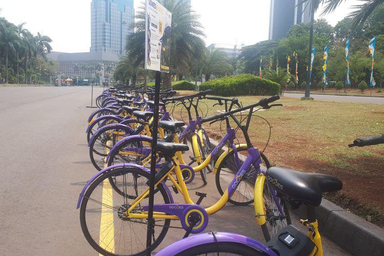 Layananbike sharingdi kawasan Monas. Ada 100 sepeda yang disediakan di tujuh lokasi parkir. Foto diambil pada Rabu (26/9/2018).