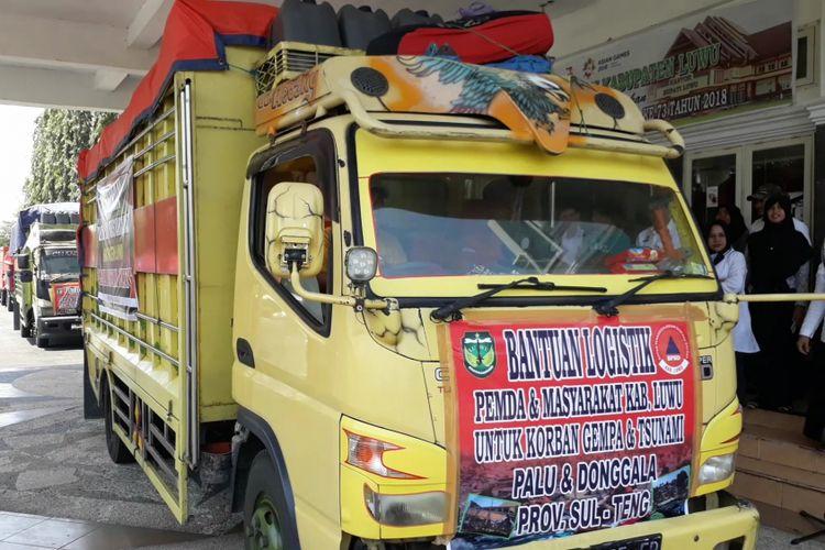 Pemerintah kabupaten luwu untuk keempat kalinya mengirim bantuan logistik dan relawan ke korban gempa bumi dan tsunami di palu, donggala dan sigi biromaru, rabu (10/10/2018)