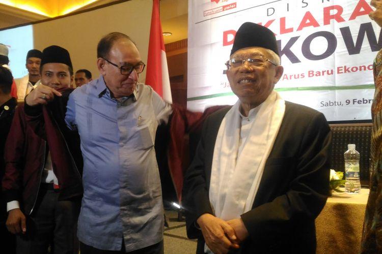 Calon wakil presiden nomor urut 01, Maruf Amin di Hotel Aryaduta, Jakarta, Sabtu (9/2/2019).