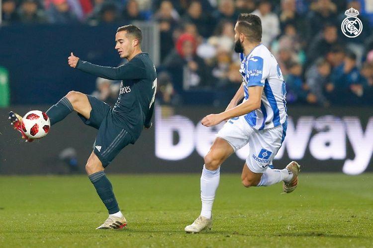Lucas Vazquez tengah mengontrol bola dalam pertandingan Leganes vs Real Madrid pada babak 16 besar Copa del Rey di Stadion Butarque, 16 Januari 2019.