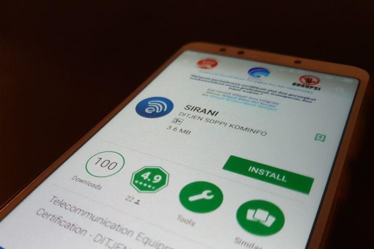 aplikasi Sirani dari Kominfo untuk mengecek ponsel Anda resmi atau tidak.