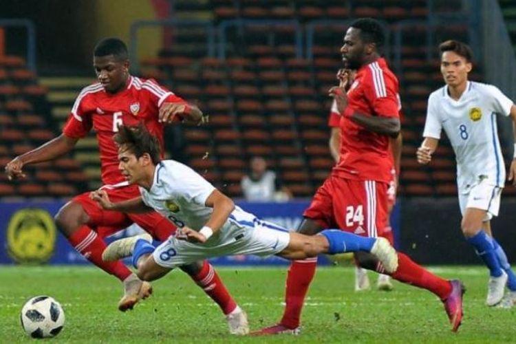 Para pemain timnas U-23 Malaysia yang tengah mempersiapkan diri mengikuti Asian Games XVIII di Jakarta, terlibat perkelahian saat uji coba menghadapi Uni Emirat Arab, Jumat (10/08/2018).